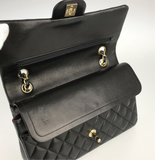 CHANEL Black Lambskin GHW 25 Double Flap Handbag