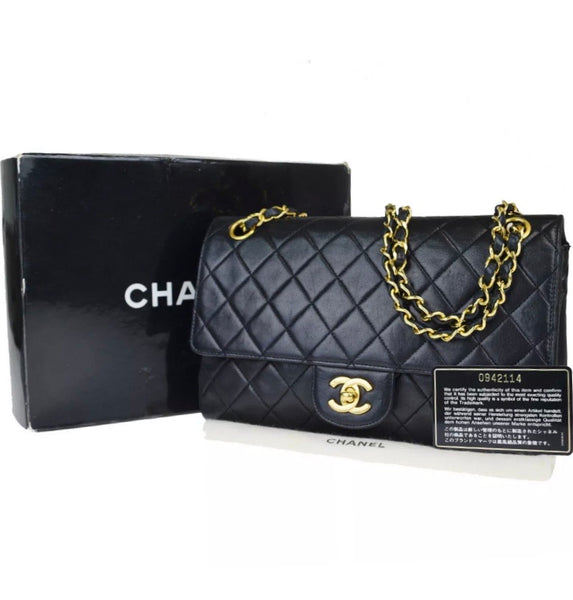 CHANEL Black Double Flap Matelasse Lambskin Leather Shoulder Handbag