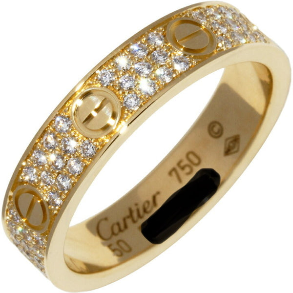 Cartier Full Diamond-Paved 18KT Yellow Gold Love Ring Size #51/ 5.5