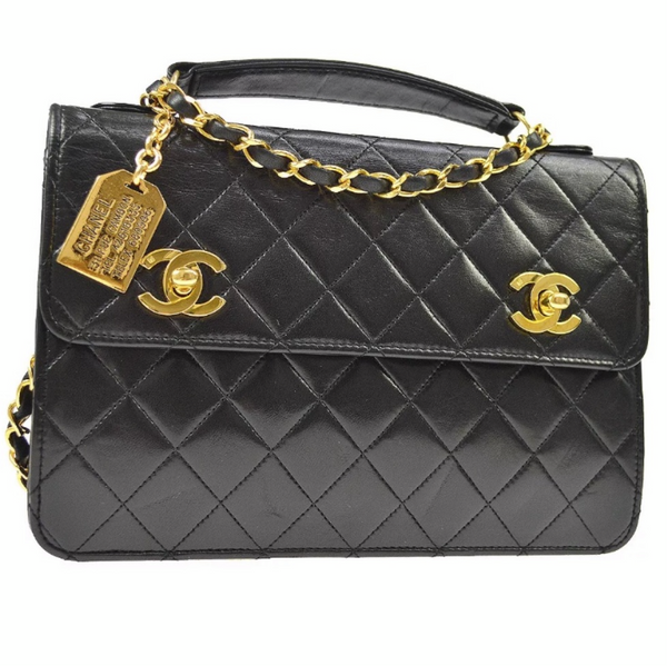 Vintage CHANEL 2Way Black Quilted GHW Handbag