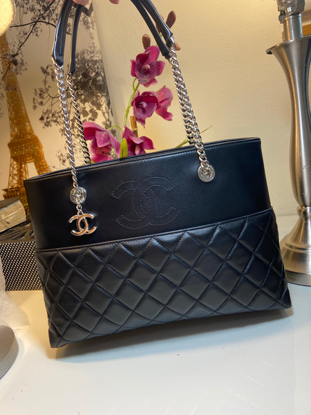 CHANEL Timeless Shopper Tote Black Lambskin Matelasse Handbag