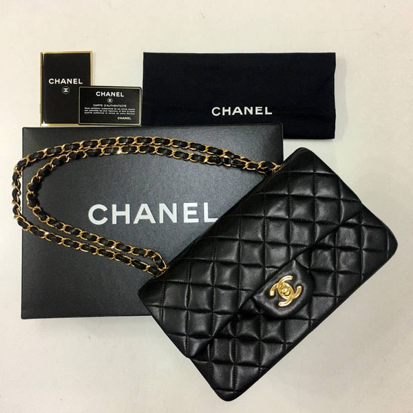 CHANEL Black Lambskin GHW Quilted Double Flap Handbag
