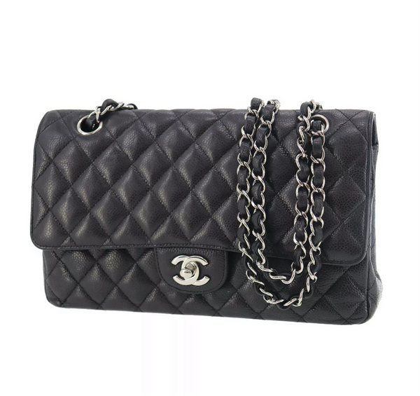 CHANEL Black Caviar Leather Silver Hardware 25 Double Flap Handbag