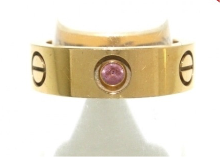 Cartier 1P Sapphire 18KT Rose Gold Love Ring #51