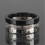 Cartier Three Love Ring Diamond, Black Ceramic Set Sz 51