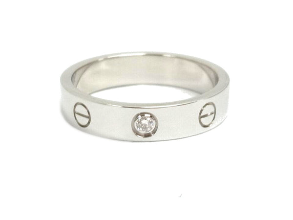 Cartier 1P Diamond Mini Wedding Love Ring 18KT White Gold #53