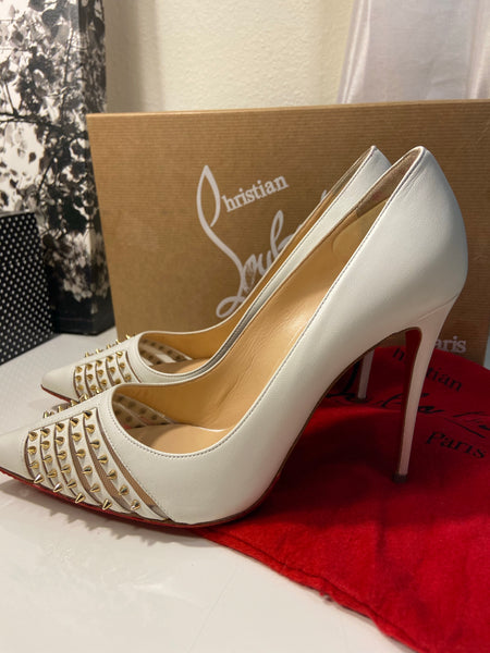 Christian Louboutin Red Bottom White Leather Spiked Heels Pumps