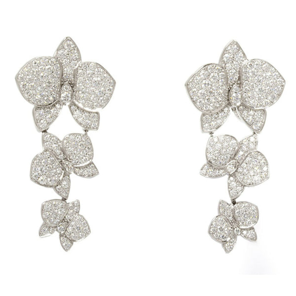 Cartier Caresse D'Orchidees Diamond Paved 18KT White Gold Dangle Earrings