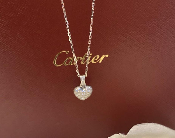 Cartier Full Diamond Paved Heart Necklace