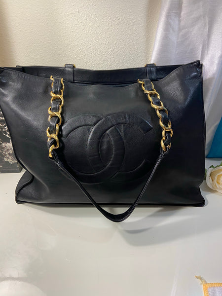 CHANEL XL Gold Hardware GST Tote Black Lambskin Bag