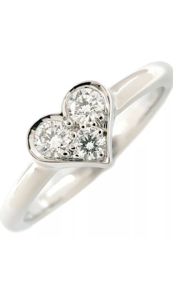 Tiffany & Co. PT950 Diamond Sentimental Heart Ring Sz 5