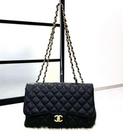 CHANEL Black Caviar Gold Hardware Jumbo Flap Bag