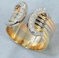 Cartier 2C Diamond 18KT Tri-Color Gold Ring #58