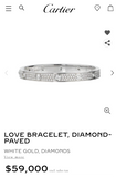 Cartier Diamond-Paved 18KT White Gold Love Bracelet Size #16