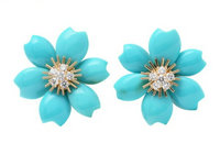 Rare Van Cleef & Arpels Turquoise Diamond Rose de Noel 18KT Yellow Gold Earrings