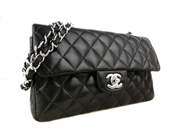 CHANEL Black Quilted Lambskin 23 Silver Hardware Double Flap Bag