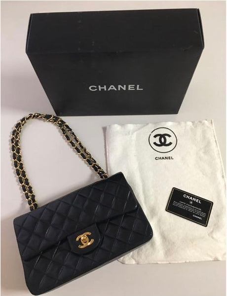 CHANEL Black Lambskin 25 Quilted Leather Handbag / Crossbody