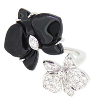 Cartier Caresse D'Orchidees Diamond Onyx White Gild Ring 5