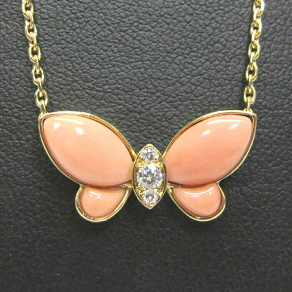 Van Cleef & Arpels Coral Diamond Papillon Butterfly Lucky Pendant Necklace