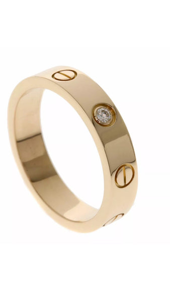 Cartier Mini 1P Diamond Love Ring Rose Gold