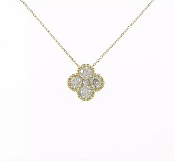 Diamond Clover 18KT Yellow Gold Necklace