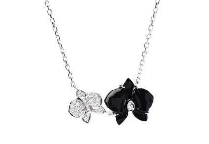 Cartier Caresse D'Orchidees Diamond & Black Onyx Flower Necklace / Pendant