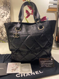 CHANEL Black Medium Paris Biarritz Tote Handbag