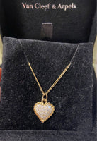 Van Cleef & Arpels VCA Diamond Paved Heart Puffy Necklace