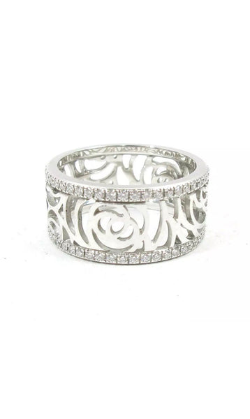 CHANEL Camelia Diamond White Gold Ring