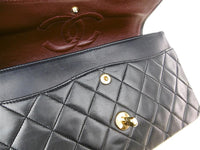CHANEL Black Quilted Lambskin 25 Double Flap Handbag