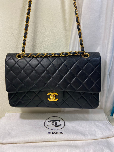 CHANEL Black Lambskin GHW Double Flap Handbag