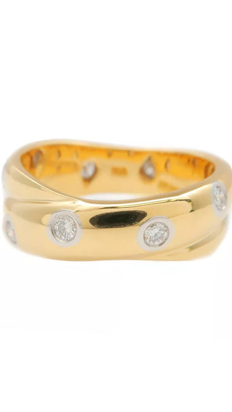 Auth Tiffany & Co. Etoile Diamond Gold & Platinum Ring