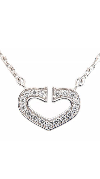 Auth Cartier C Heart 18KT Gold & Diamond Necklace