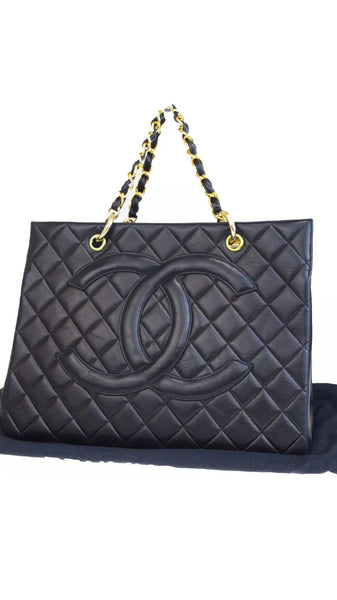 Auth CHANEL Grand Shopper Tote (GST) Black Lambskin Leather Handbag