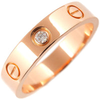 Auth Cartier Mini Love Ring 1P Diamond Rose Gold #50