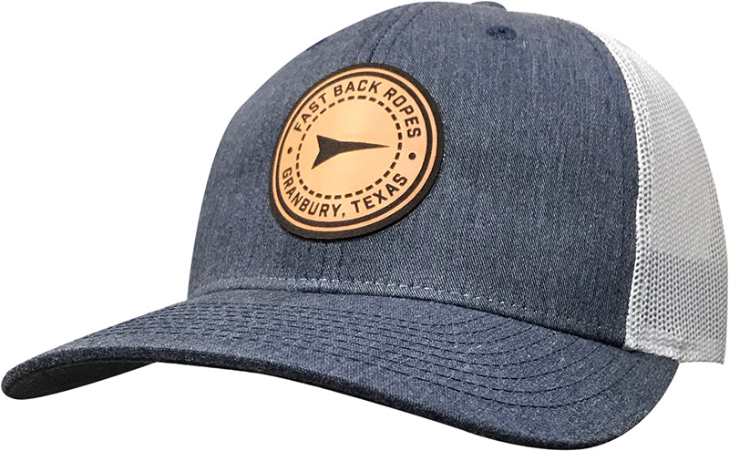 Cap - Heather Navy / White / Round Leather Patch