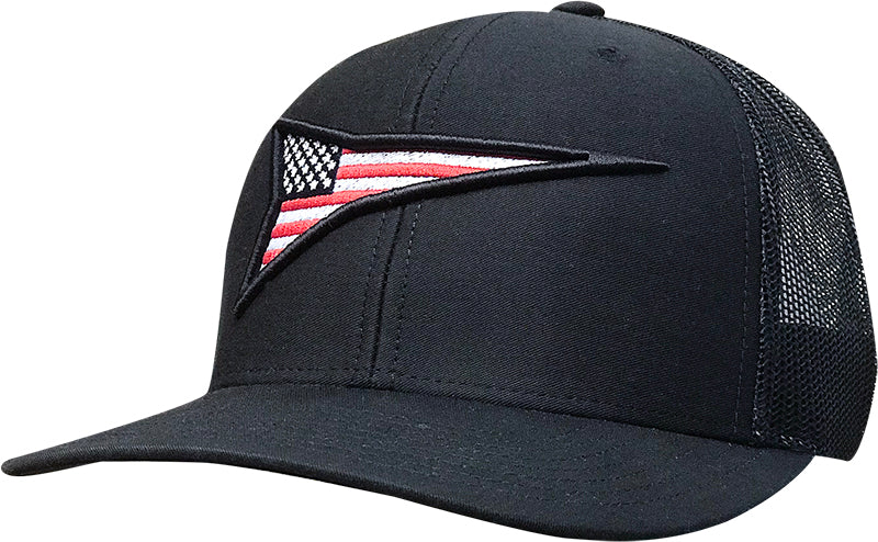 Cap #03REB - Black / Black Mesh / 3D Flag Rocket