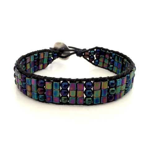Black Rainbow Single Wrap Bracelet