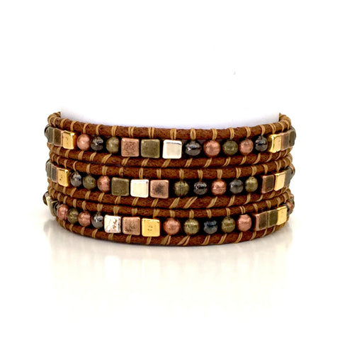 Boho Chic Antiqued Copper, Bronze, Silver, Gold and Black Triple Wrap Bracelet