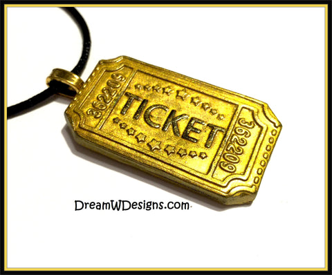 Golden Ticket Pendant Necklace, Willy Wonka