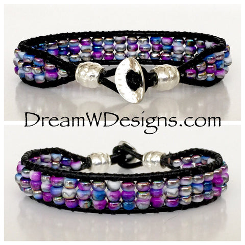 Funky Blue and Purple Leather Wrap Bracelet