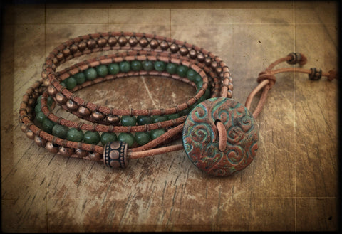Olive Green Quartz and Aged Copper Triple Leather Wrap Bracelet