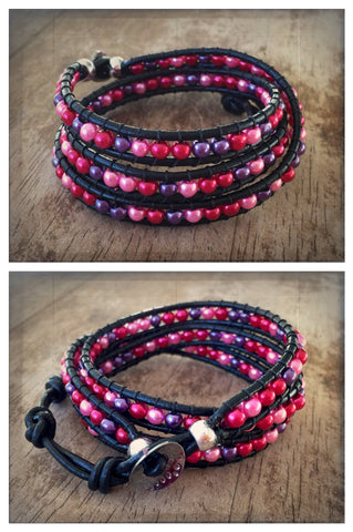 Valentines Day Red, Pink and Purple Pearl Black Leather Triple Wrap Bracelet
