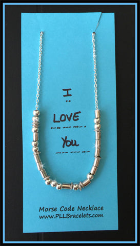 Morse Code Silver Necklace I Love You and Customizable