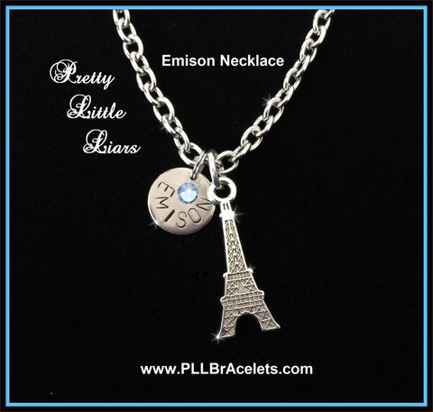 Pretty Little Liars Inspired Emison Paris Eiffel Tower Silver and Crystal Ship Necklace