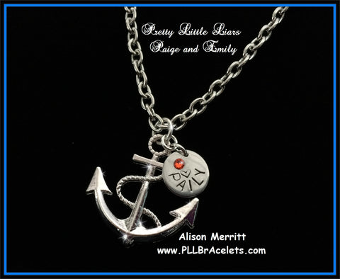 Pretty Little Liars Inspired PAILY Anchor Necklace Ship Paige and Emily