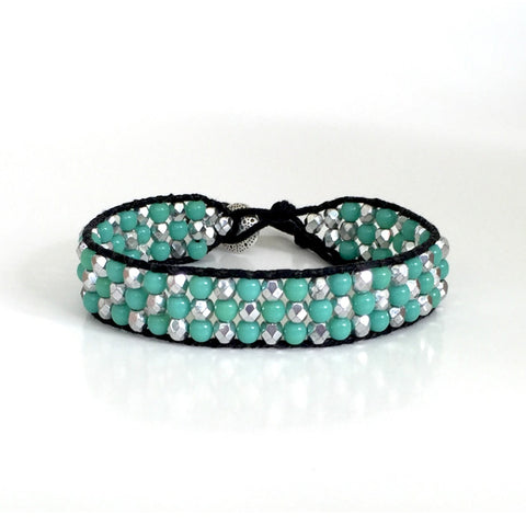 Seafoam Green Silver Crystal Wrap Bracelet Single Wrap