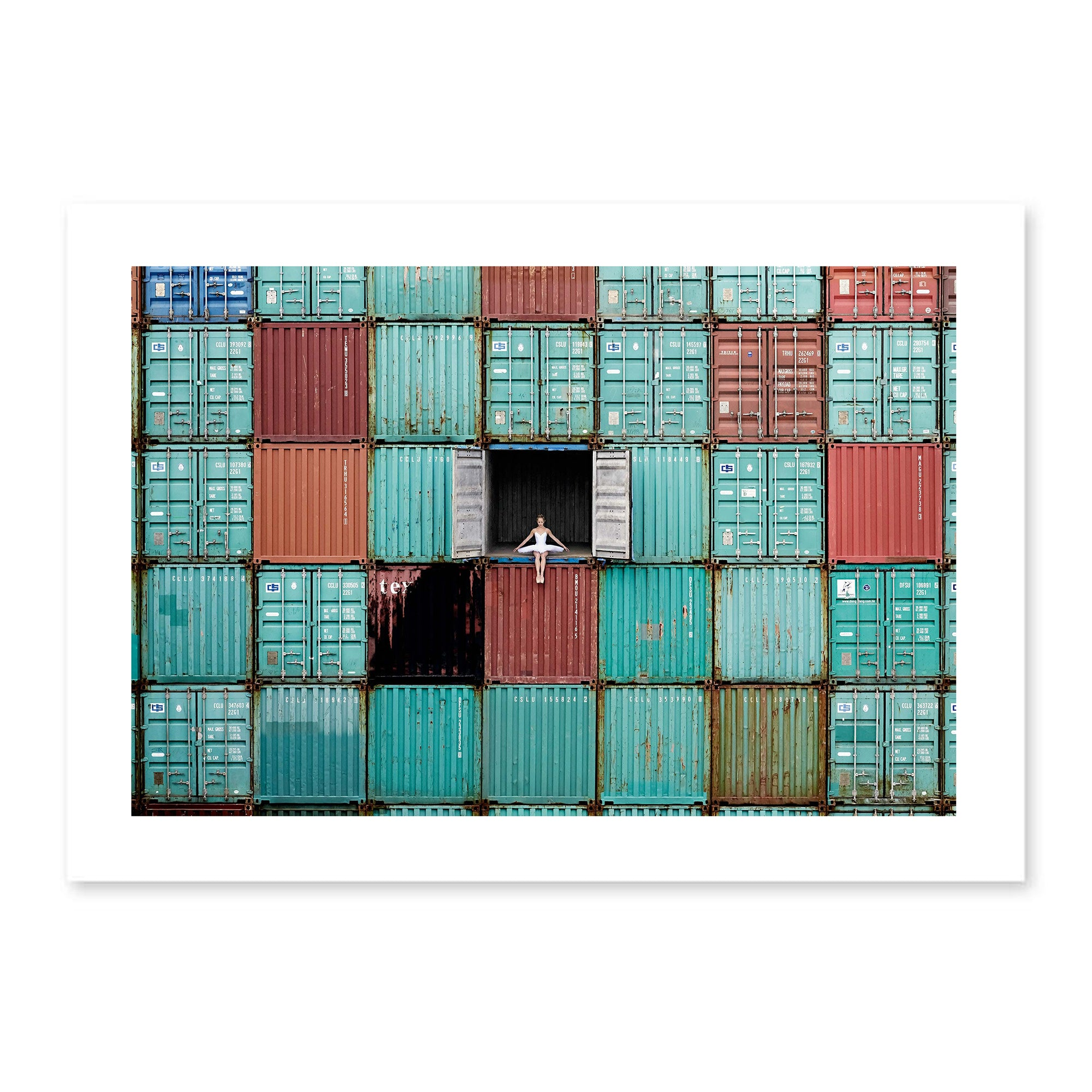 Poster The ballerina in containers, Le Havre, France, 2014