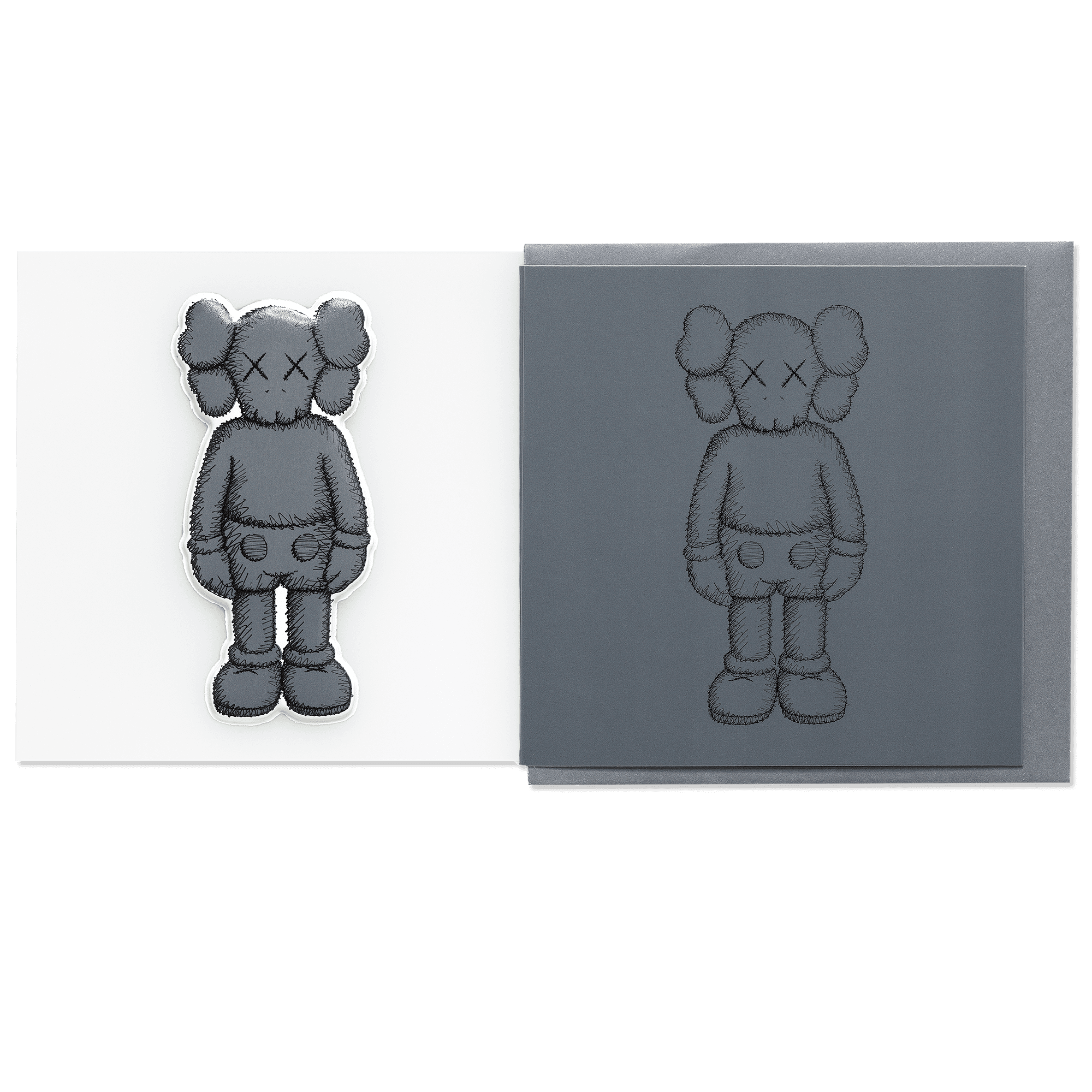 KAWS Greeting Card with Puffy Sticker COMPANION Dark Grey