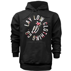 Black/ Floral Hoodie - Lay Low Apparel